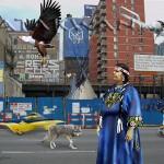 Bitawagijigokwe on 10th ave - digital collage artwork by contemporary Plains Cree Metis Nation artist Jude Norris